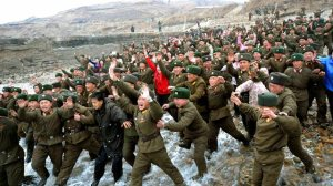North Korean soldiers react to visit from Kim Jong-un